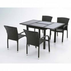 Conjunto mesa y 4 sillones fibra Dayton